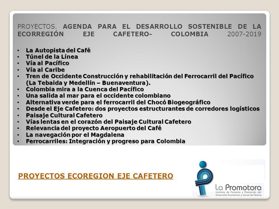 PROYECTOS. AGENDA PARA EL DESARROLLO SOSTENIBLE DE LA ECORREGIÓN EJE CAFETERO- COLOMBIA 2007-2019 PROYECTOS ECOREGION EJE CAFETERO La Autopista del Ca