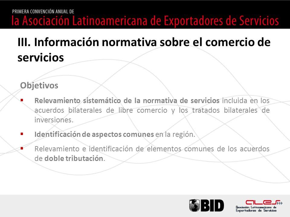 Objetivos Relevamiento sistemático de la normativa de servicios incluida en los acuerdos bilaterales de libre comercio y los tratados bilaterales de inversiones.