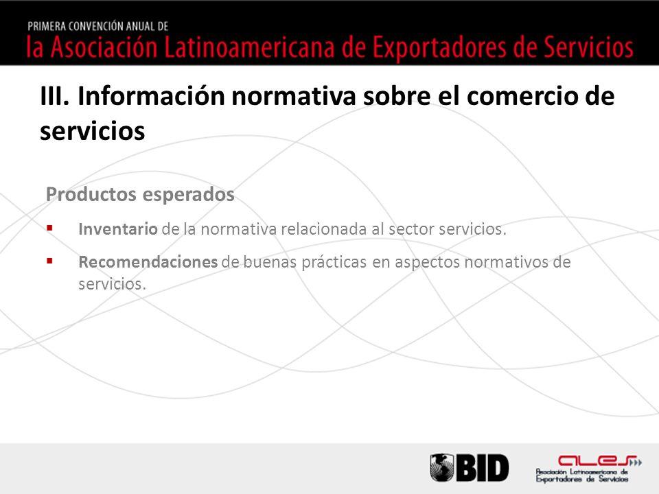 Productos esperados Inventario de la normativa relacionada al sector servicios. Recomendaciones de buenas prácticas en aspectos normativos de servicio
