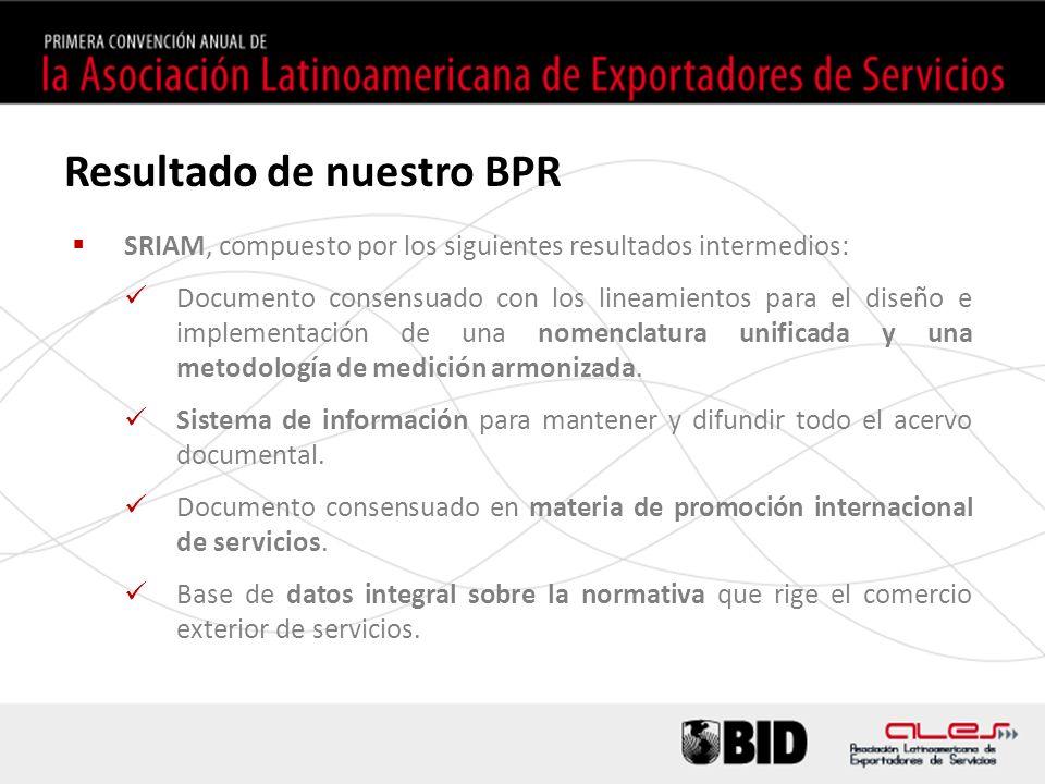 Resultado de nuestro BPR SRIAM, compuesto por los siguientes resultados intermedios: Documento consensuado con los lineamientos para el diseño e implementación de una nomenclatura unificada y una metodología de medición armonizada.