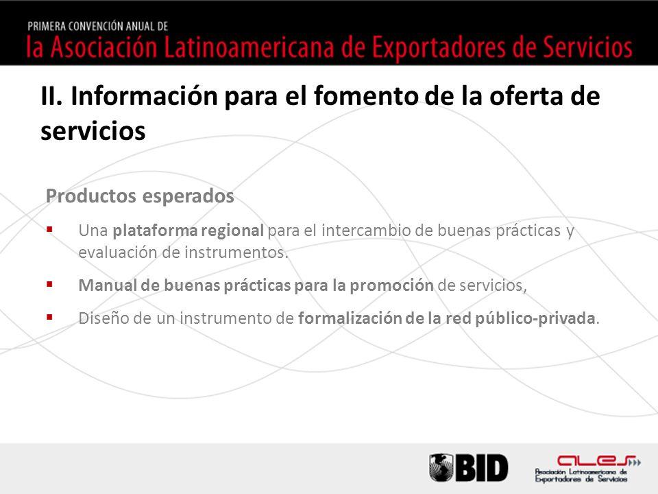 Productos esperados Una plataforma regional para el intercambio de buenas prácticas y evaluación de instrumentos.