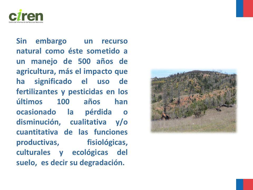 Sin embargo un recurso natural como éste sometido a un manejo de 500 años de agricultura, más el impacto que ha significado el uso de fertilizantes y