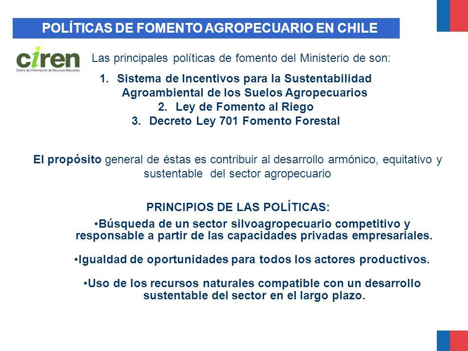 POLÍTICAS DE FOMENTO AGROPECUARIO EN CHILE El propósito general de éstas es contribuir al desarrollo armónico, equitativo y sustentable del sector agr
