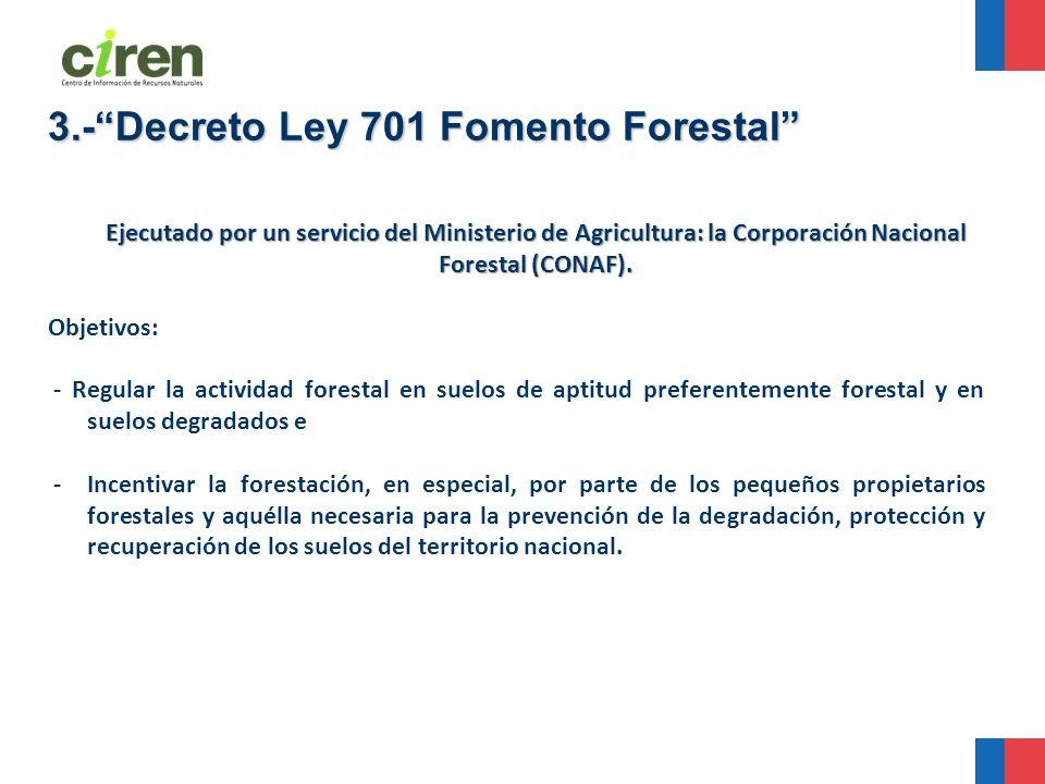 Ejecutado por un servicio del Ministerio de Agricultura: la Corporación Nacional Forestal (CONAF). Objetivos: - Regular la actividad forestal en suelo