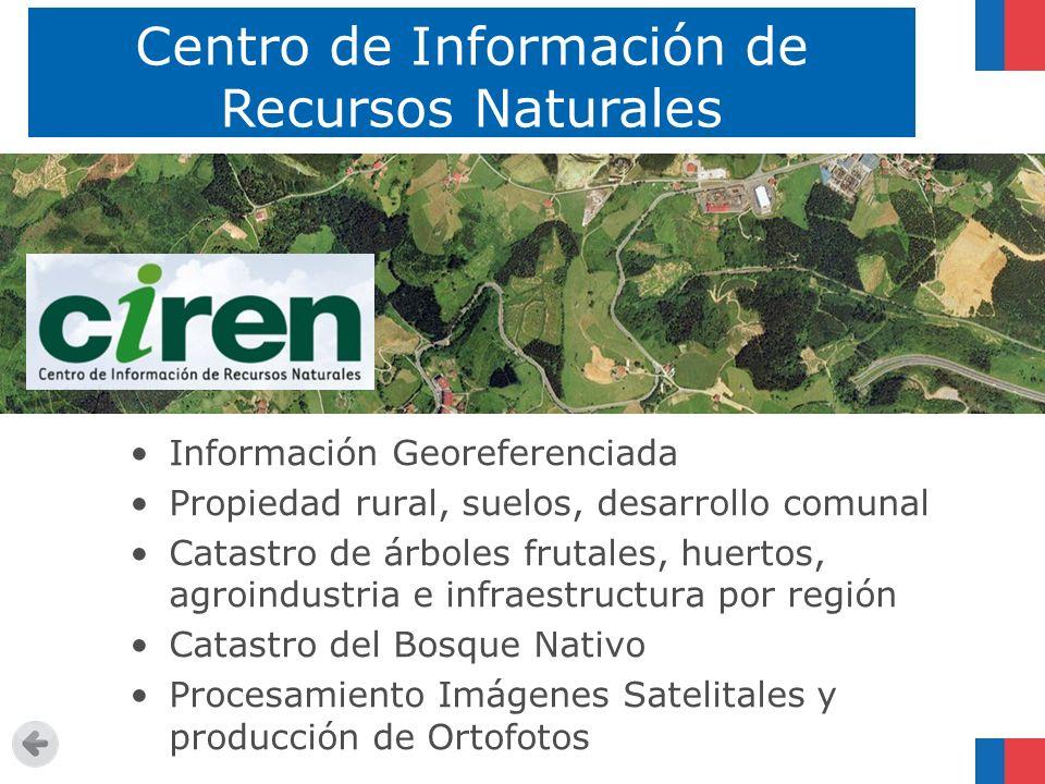 Centro de Información de Recursos Naturales Información Georeferenciada Propiedad rural, suelos, desarrollo comunal Catastro de árboles frutales, huer