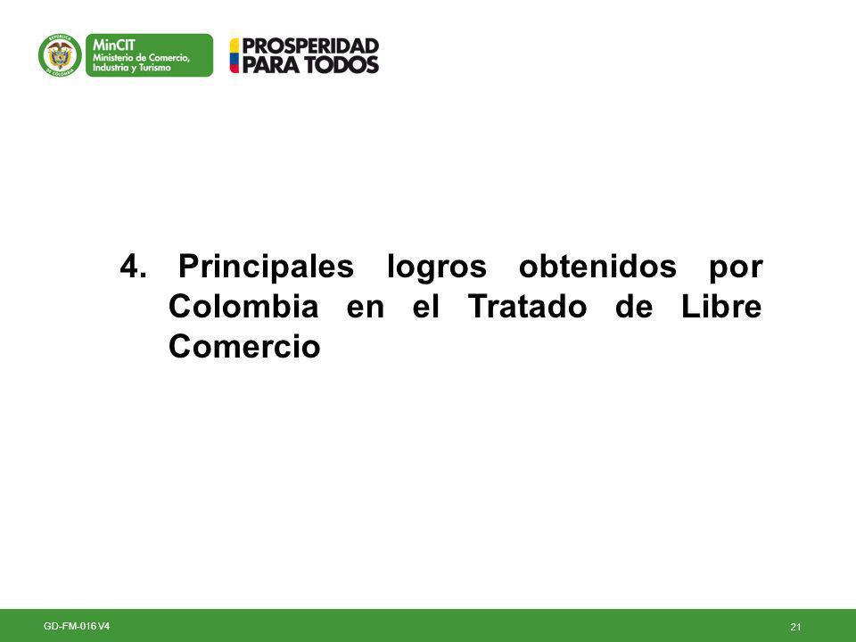 21 4. Principales logros obtenidos por Colombia en el Tratado de Libre Comercio GD-FM-016 V4