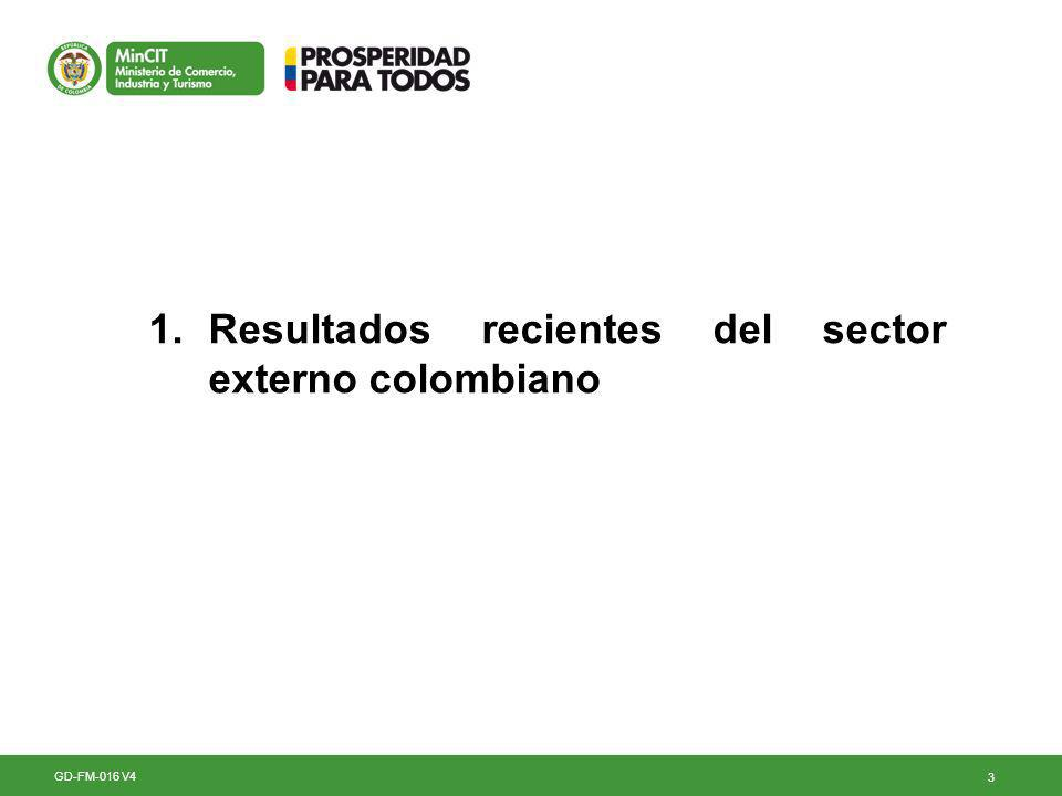 3 1.Resultados recientes del sector externo colombiano GD-FM-016 V4