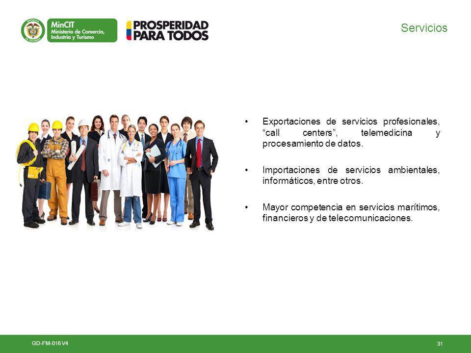 31 Servicios Exportaciones de servicios profesionales, call centers, telemedicina y procesamiento de datos.