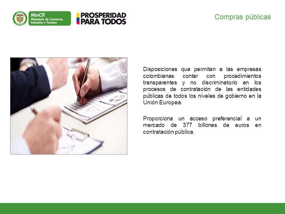 Compras públicas Disposiciones que permitan a las empresas colombianas contar con procedimientos transparentes y no discriminatorio en los procesos de contratación de las entidades públicas de todos los niveles de gobierno en la Unión Europea.