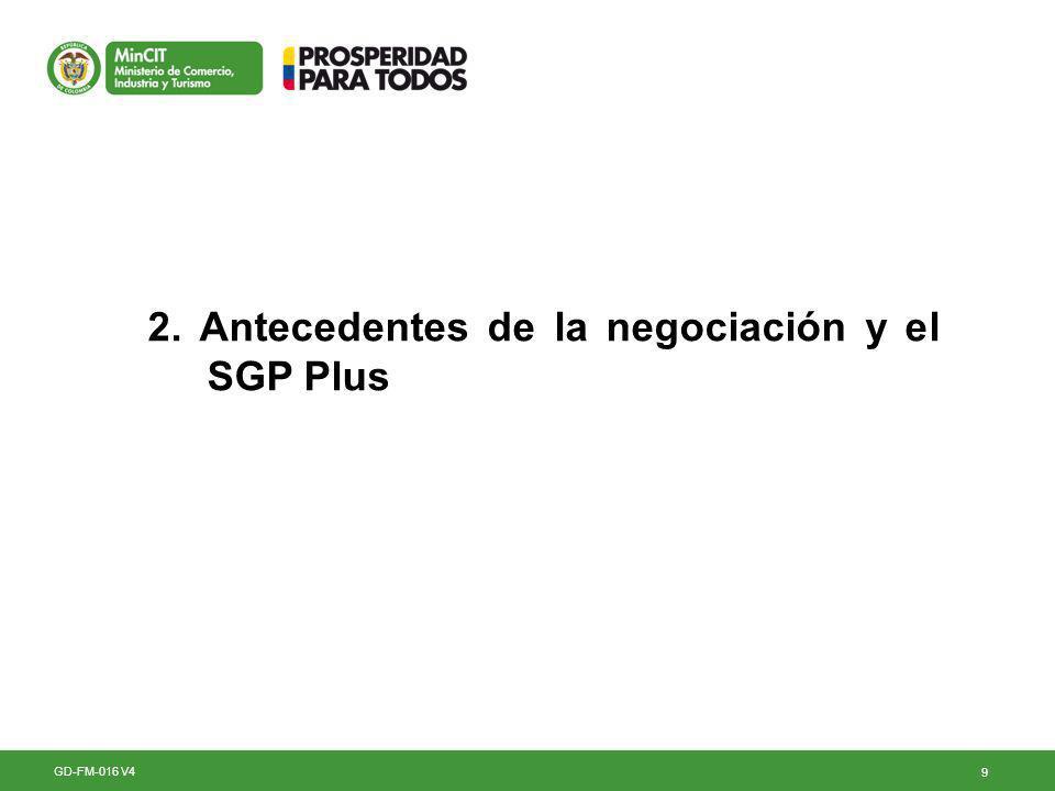 9 2. Antecedentes de la negociación y el SGP Plus GD-FM-016 V4