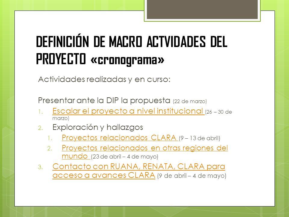 DEFINICIÓN DE MACRO ACTVIDADES DEL PROYECTO «cronograma» Actividades realizadas y en curso: Presentar ante la DIP la propuesta (22 de marzo) 1. Escala