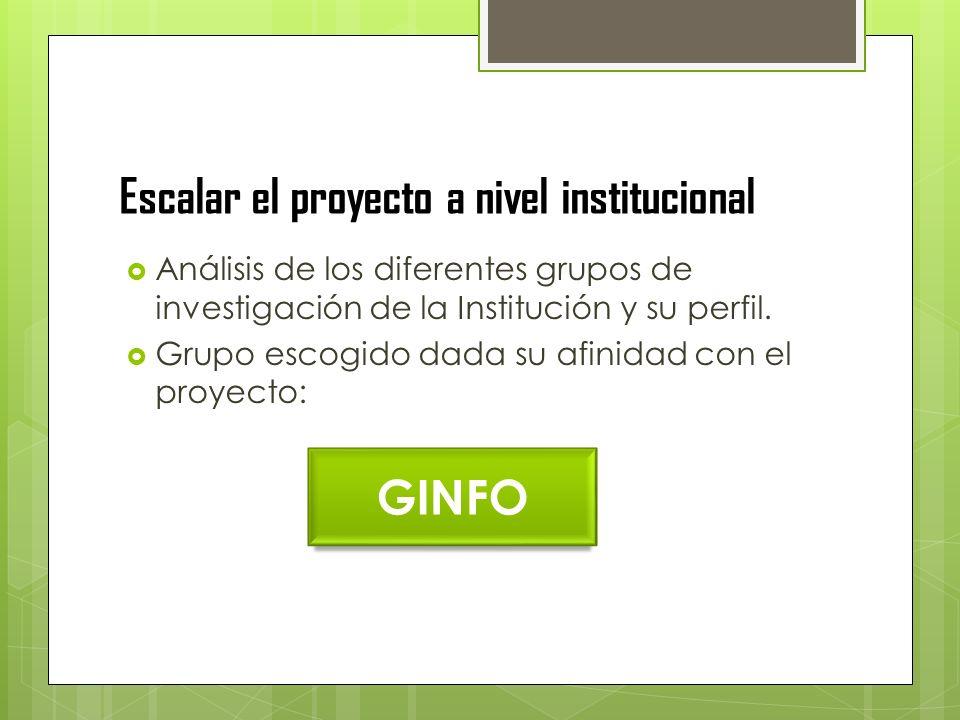 Escalar el proyecto a nivel institucional Análisis de los diferentes grupos de investigación de la Institución y su perfil.