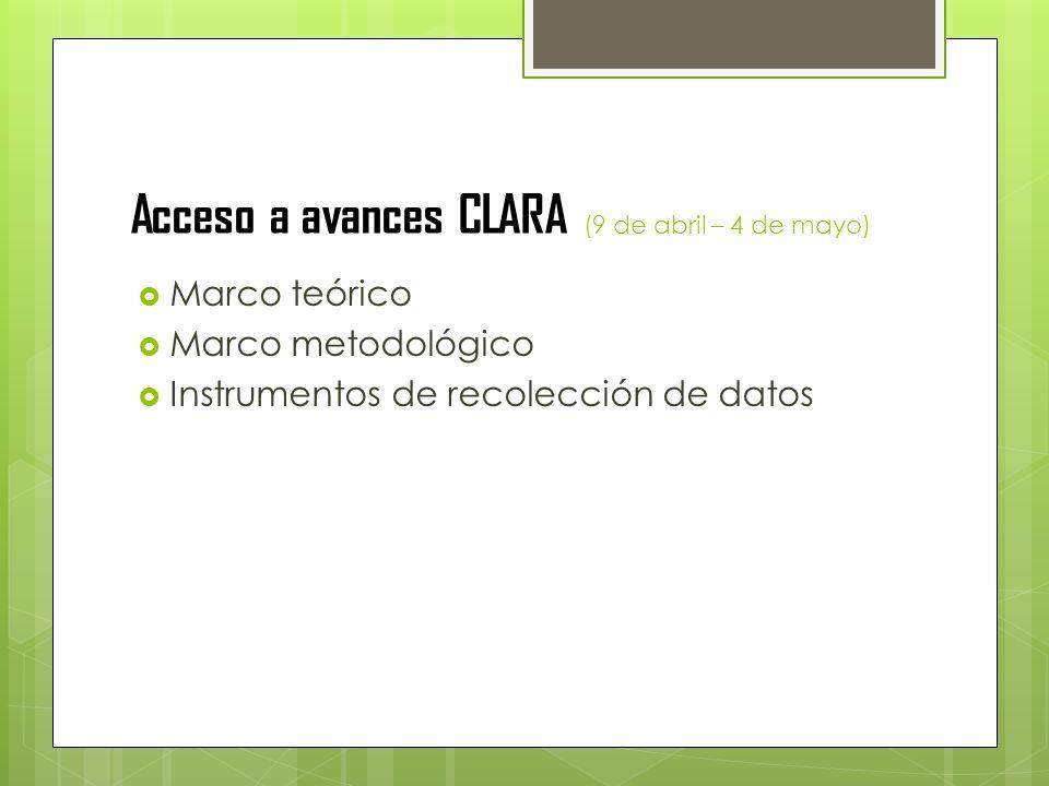 Acceso a avances CLARA (9 de abril – 4 de mayo) Marco teórico Marco metodológico Instrumentos de recolección de datos