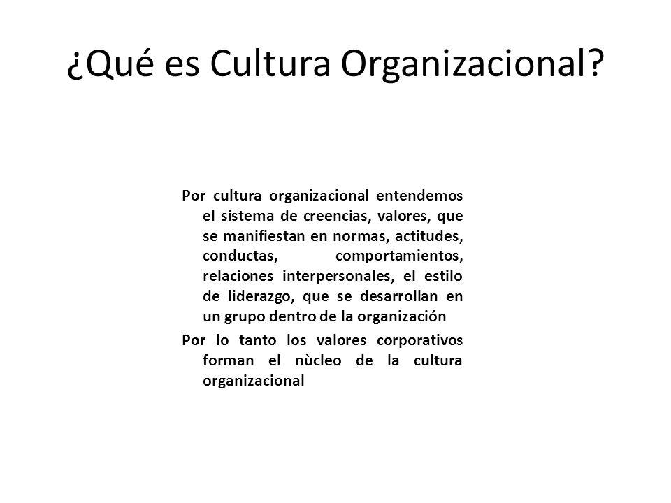 ¿Qué es Cultura Organizacional? Por cultura organizacional entendemos el sistema de creencias, valores, que se manifiestan en normas, actitudes, condu