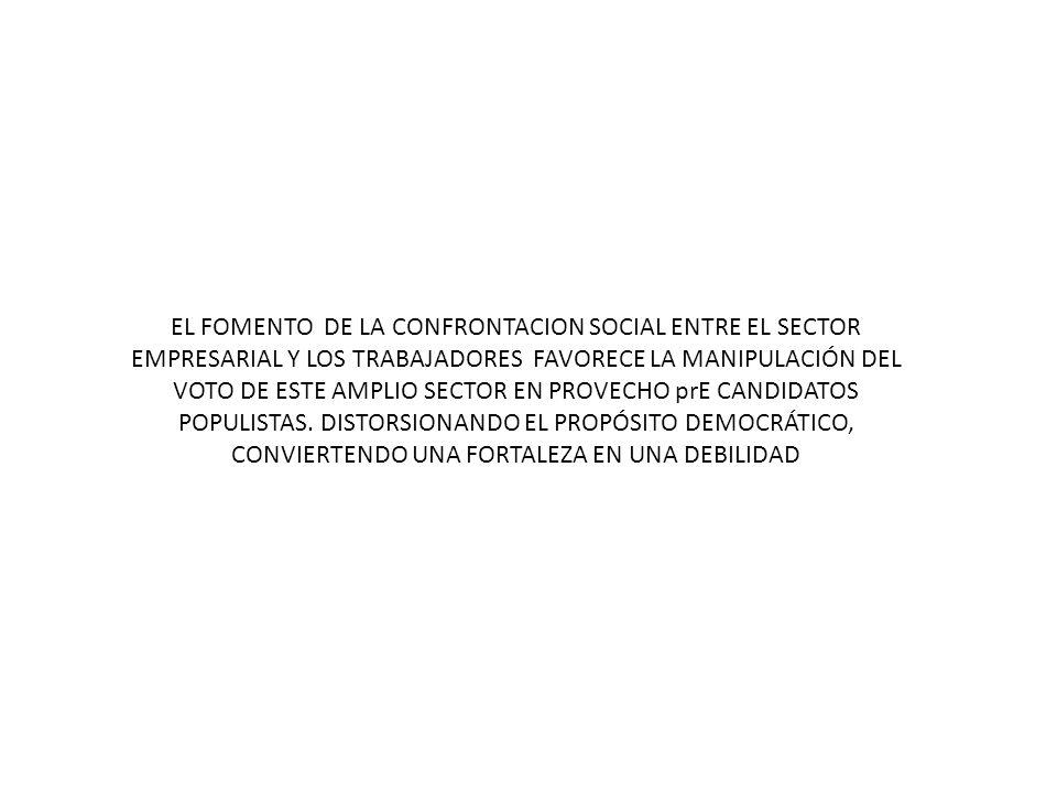ENTENDIÉNDOSE POR POPULISMO, LA OFERTA DE BENEFICIOS SOCIO ECONOMICAS DERIVADAS DE UNA MAYOR REDISTRIBUCIÓN DE LOS BENEFICIOS ECONOMICOS DE LAS EMPRESAS, EN GENERAL SIN ATENDER A LA FRAGILIDAD ECONOMICA DE LAS MISMAS Y SU POSIBLE DESESTÍMULO, OLVIDÁNDOSE QUE NO ES POSIBLE MEJORAR LAS CONDICIONES ECONÓMICAS DE LA GENERALIDAD, SI NO EXISTE UN CRECIMIENTO DE LAS EMPRESAS, UNICAS CAPACES DE CREAR RIQUEZA.