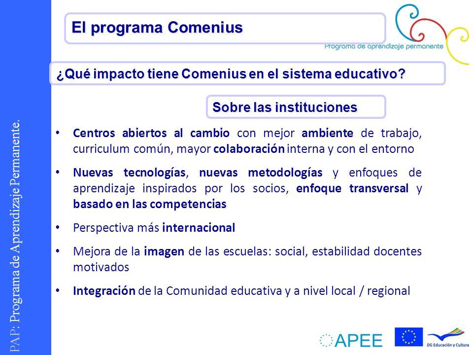PAP : Programa de Aprendizaje Permanente. El programa Comenius ¿Qué impacto tiene Comenius en el sistema educativo? Sobre las instituciones Centros ab