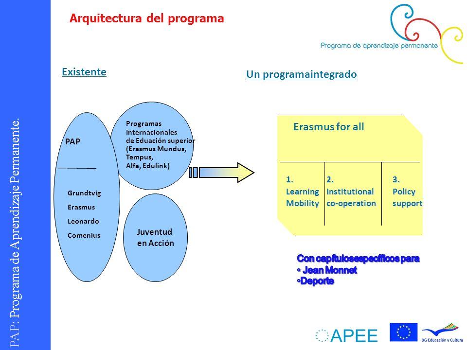 PAP : Programa de Aprendizaje Permanente. Juventud en Acción Programas Internacionales de Eduación superior (Erasmus Mundus, Tempus, Alfa, Edulink) Gr
