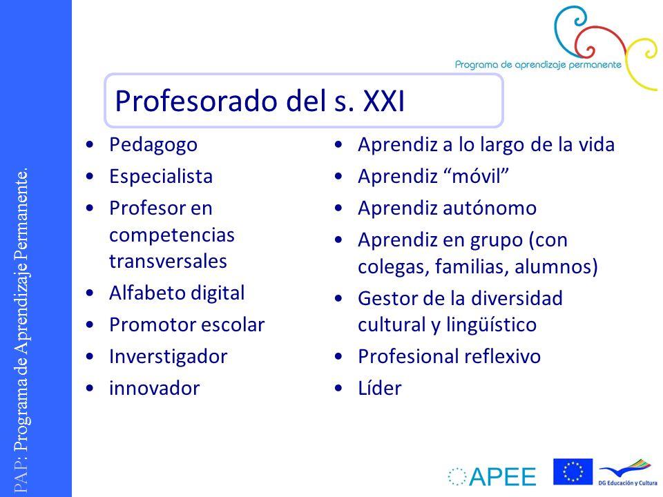 PAP : Programa de Aprendizaje Permanente. Pedagogo Especialista Profesor en competencias transversales Alfabeto digital Promotor escolar Inverstigador