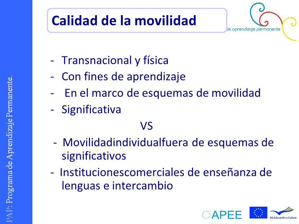 PAP : Programa de Aprendizaje Permanente. -Transnacional y física -Con fines de aprendizaje - En el marco de esquemas de movilidad -Significativa VS -