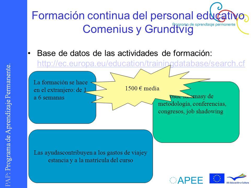 PAP : Programa de Aprendizaje Permanente. Formación continua del personal educativo Comenius y Grundtvig Base de datos de las actividades de formación