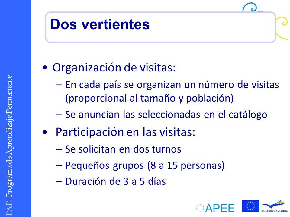 PAP : Programa de Aprendizaje Permanente. Organización de visitas: –En cada país se organizan un número de visitas (proporcional al tamaño y población