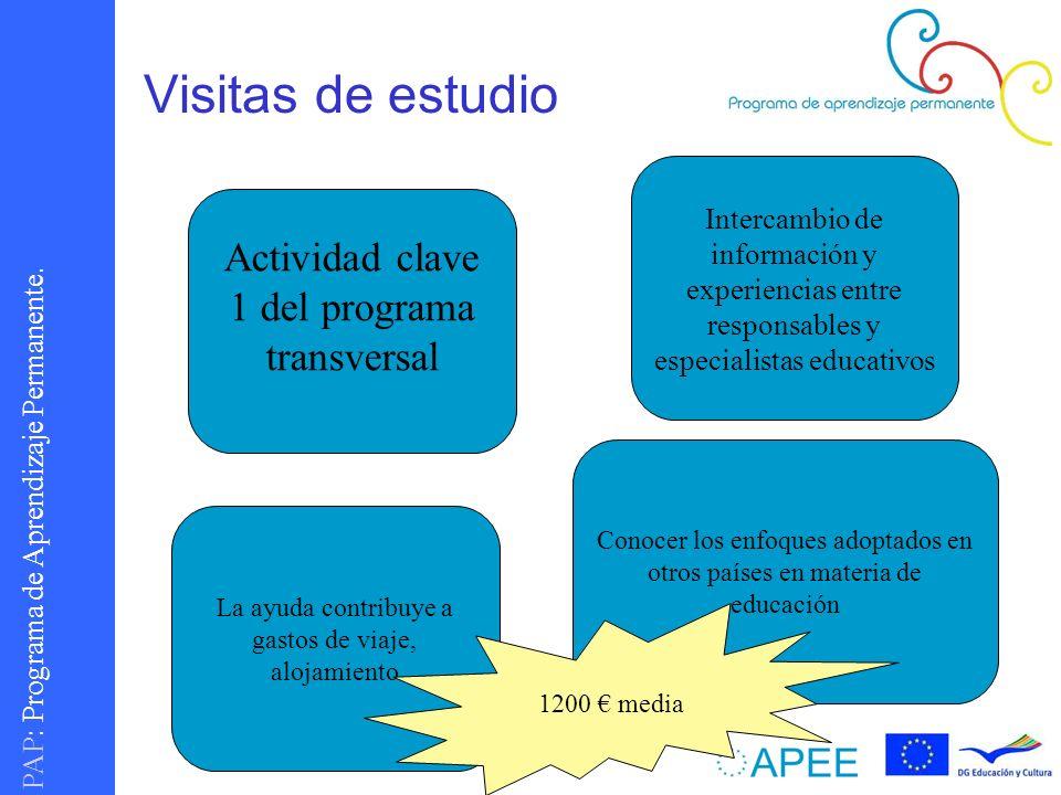 PAP : Programa de Aprendizaje Permanente. Visitas de estudio Actividad clave 1 del programa transversal Intercambio de información y experiencias entr