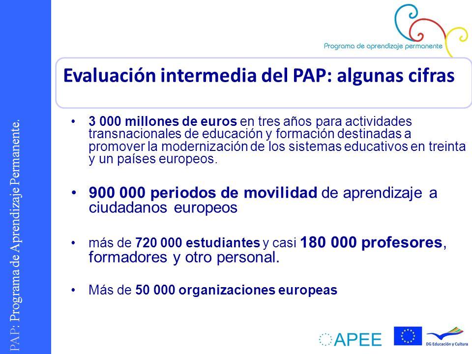PAP : Programa de Aprendizaje Permanente. 3 000 millones de euros en tres años para actividades transnacionales de educación y formación destinadas a