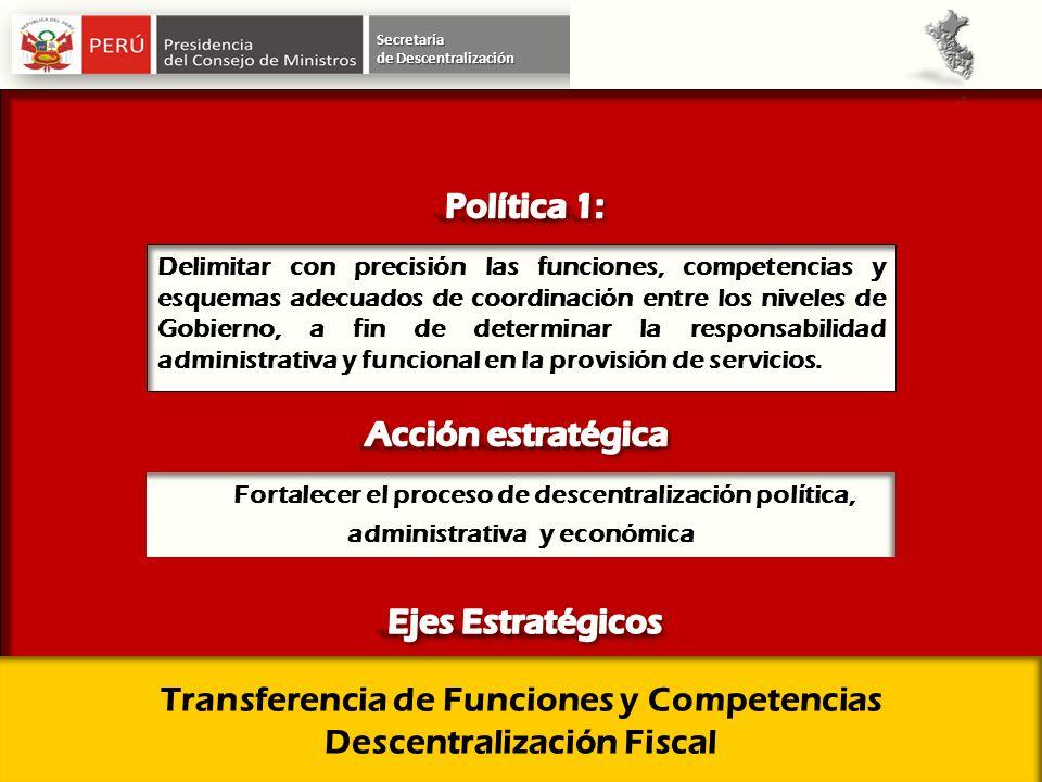 Secretaría Delimitar con precisión las funciones, competencias y esquemas adecuados de coordinación entre los niveles de Gobierno, a fin de determinar