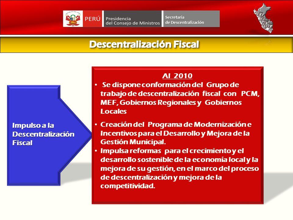 Impulso a la Descentralización Fiscal Al 2010 Se dispone conformación del Grupo de trabajo de descentralización fiscal con PCM, MEF, Gobiernos Regiona