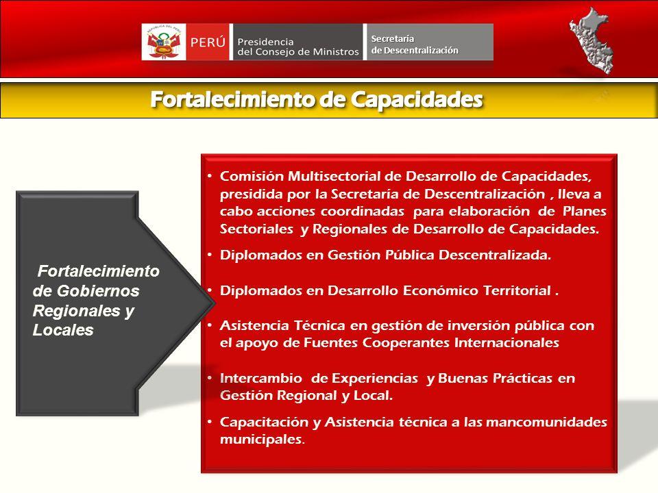 Comisión Multisectorial de Desarrollo de Capacidades, presidida por la Secretaría de Descentralización, lleva a cabo acciones coordinadas para elabora
