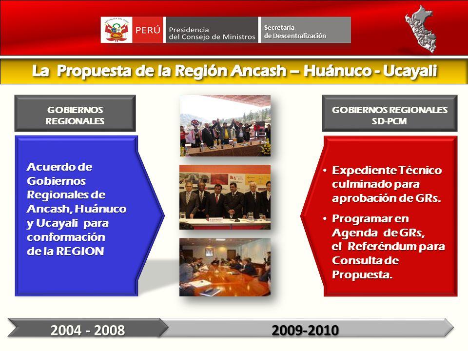Acuerdo de Gobiernos Regionales de Ancash, Huánuco y Ucayali para conformación de la REGION Expediente Técnico culminado para aprobación de GRs. Exped
