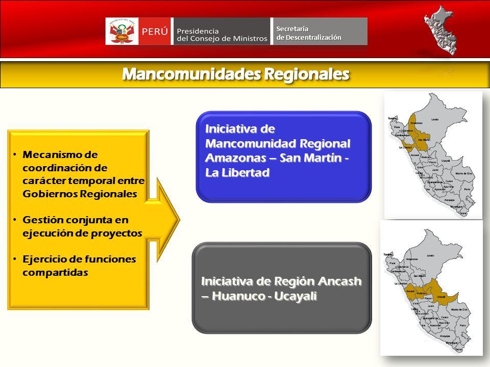 Iniciativa de Mancomunidad Regional Amazonas – San Martín - La Libertad Mecanismo de coordinación de carácter temporal entre Gobiernos Regionales Gest