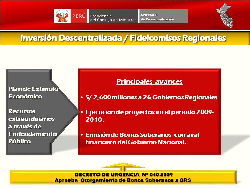 Secretaría Principales avances S/ 2,600 millones a 26 Gobiernos Regionales Ejecución de proyectos en el periodo 2009- 2010. Emisión de Bonos Soberanos