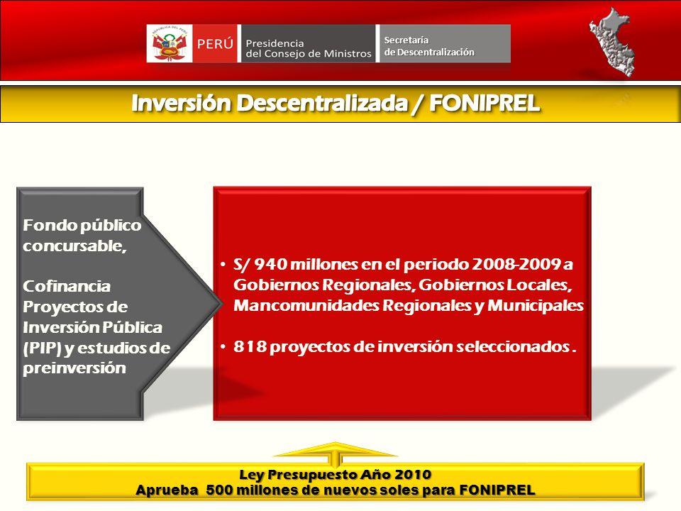 Secretaría de Descentralización S/ 940 millones en el periodo 2008-2009 a Gobiernos Regionales, Gobiernos Locales, Mancomunidades Regionales y Municip