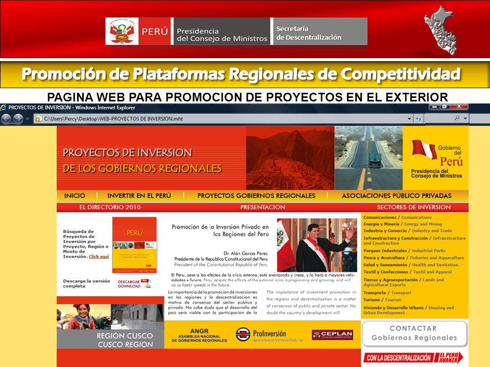 PAGINA WEB PARA PROMOCION DE PROYECTOS EN EL EXTERIOR Secretaría de Descentralización