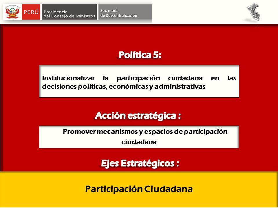 Secretaría Institucionalizar la participación ciudadana en las decisiones políticas, económicas y administrativas Participación Ciudadana Promover mec