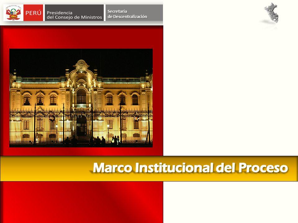 Julio 2002 Julio 2002 se crea el CONSEJO NACIONAL DE DESCENTRALIZACION Enero 2007 se fusiona el CND a PCM 2007 Se crea la Secretaría de Descentralización en la Presidencia del Consejo de Ministros Supervisa el proceso de Descentralización en el país Secretaría de Descentralización