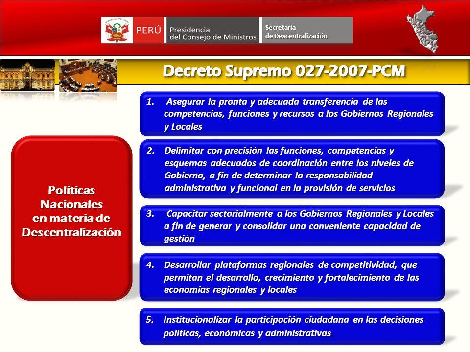 Fortalecimiento de Gobiernos Regionales y Locales Secretaría de Descentralización Principales avances Mesas de Trabajo territoriales por Huánuco.