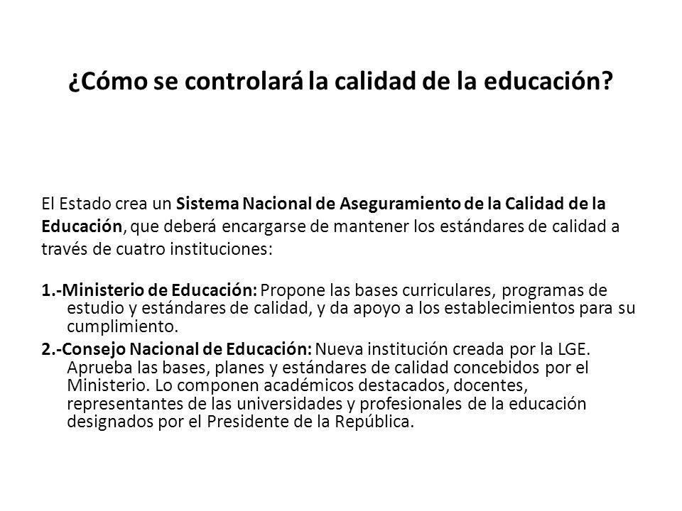 ¿Cómo se controlará la calidad de la educación.