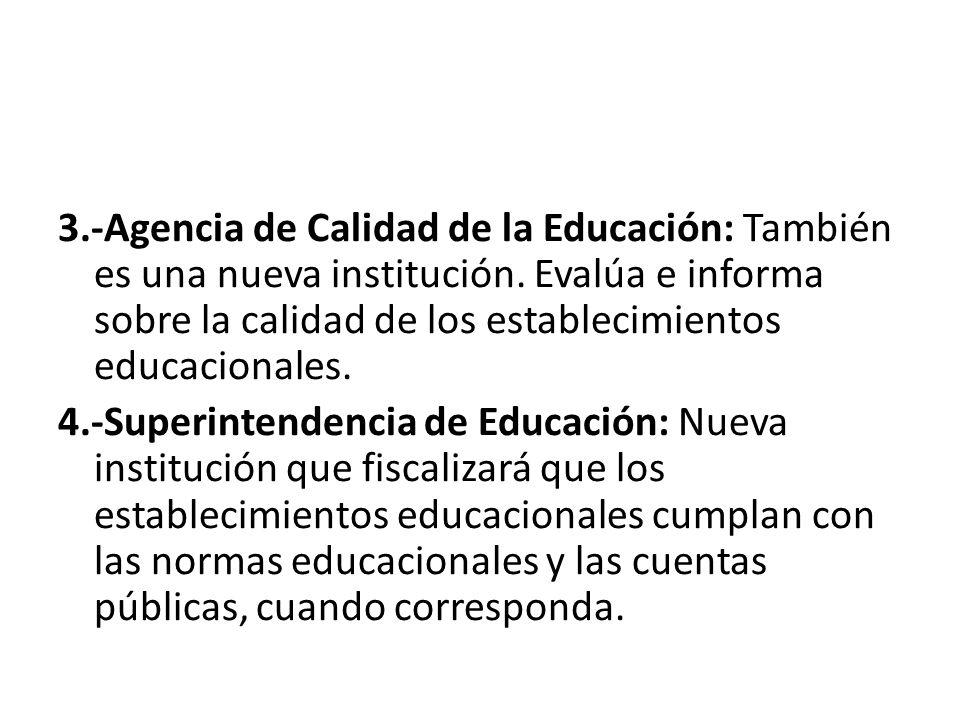 3.-Agencia de Calidad de la Educación: También es una nueva institución.