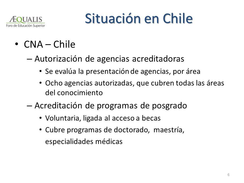 Situación en Chile CNA – Chile – Autorización de agencias acreditadoras Se evalúa la presentación de agencias, por área Ocho agencias autorizadas, que