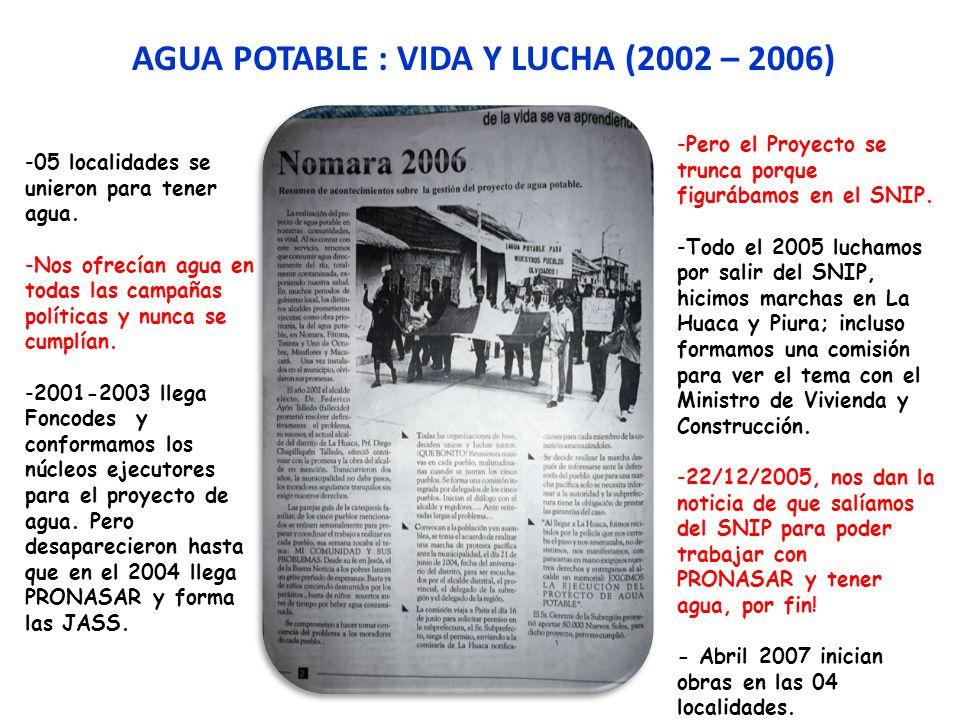 AGUA POTABLE : VIDA Y LUCHA (2002 – 2006) -Pero el Proyecto se trunca porque figurábamos en el SNIP. -Todo el 2005 luchamos por salir del SNIP, hicimo