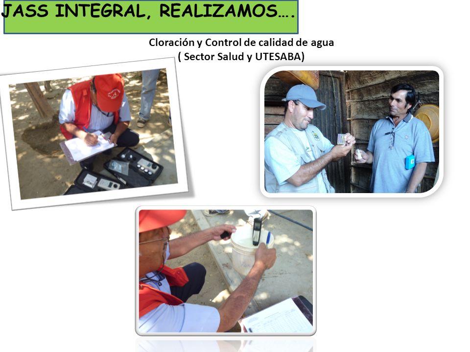 Cloración y Control de calidad de agua ( Sector Salud y UTESABA) JASS INTEGRAL, REALIZAMOS….