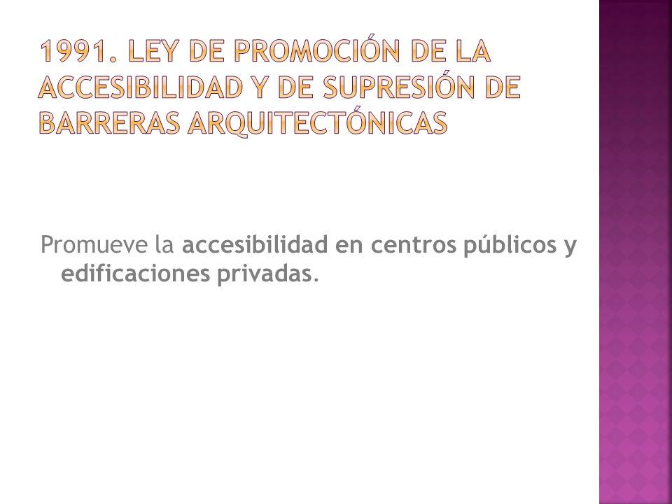 Promueve la accesibilidad en centros públicos y edificaciones privadas.