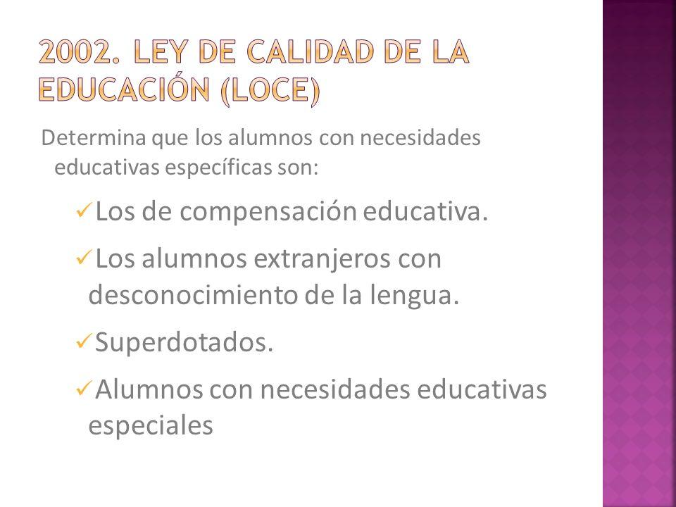 Determina que los alumnos con necesidades educativas específicas son: Los de compensación educativa. Los alumnos extranjeros con desconocimiento de la