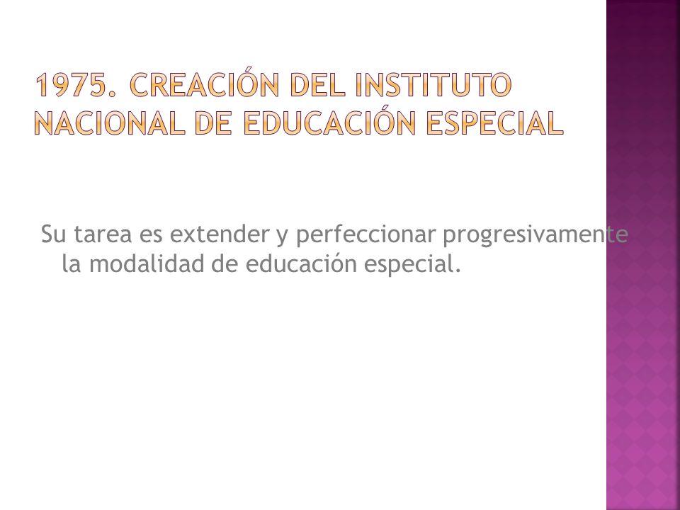 Su tarea es extender y perfeccionar progresivamente la modalidad de educación especial.