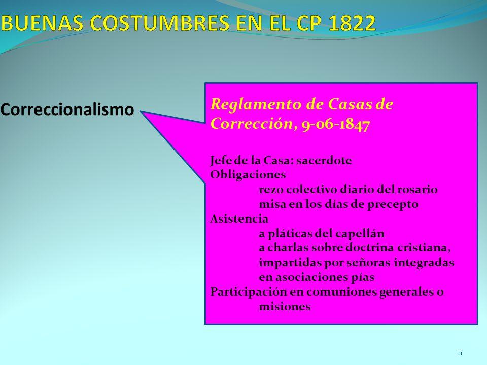 Correccionalismo Reglamento de Casas de Corrección, 9-06-1847 Jefe de la Casa: sacerdote Obligaciones rezo colectivo diario del rosario misa en los dí