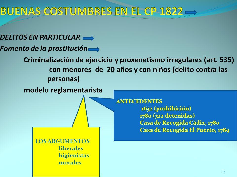 DELITOS EN PARTICULAR Fomento de la prostitución Criminalización de ejercicio y proxenetismo irregulares (art. 535) con menores de 20 años y con niños