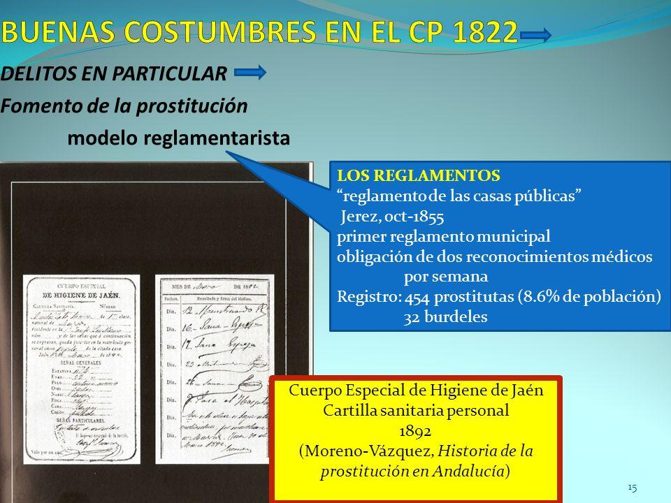 DELITOS EN PARTICULAR Fomento de la prostitución modelo reglamentarista LOS REGLAMENTOS reglamento de las casas públicas Jerez, oct-1855 primer reglam