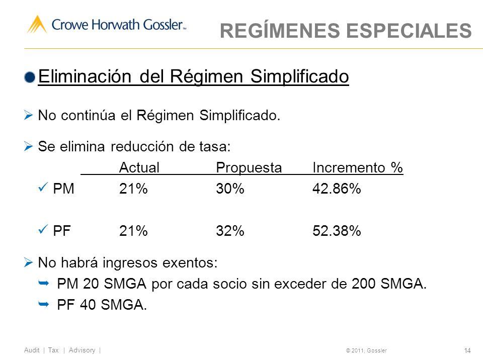14 Audit | Tax | Advisory | © 2011, Gossler REGÍMENES ESPECIALES Eliminación del Régimen Simplificado No continúa el Régimen Simplificado.